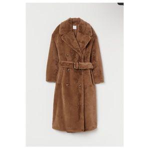 H & M Faux Fur Coat with Belt